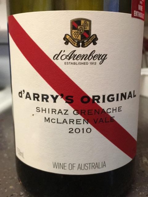 d'Arenberg - d'Arry's Original Shiraz - Grenache - 2010
