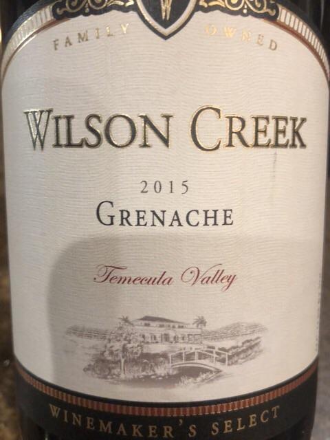 Wilson Creek - Winemaker's Select Grenache - 2015