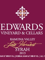 Edwards Cellars - Late Harvest Syrah - 2013