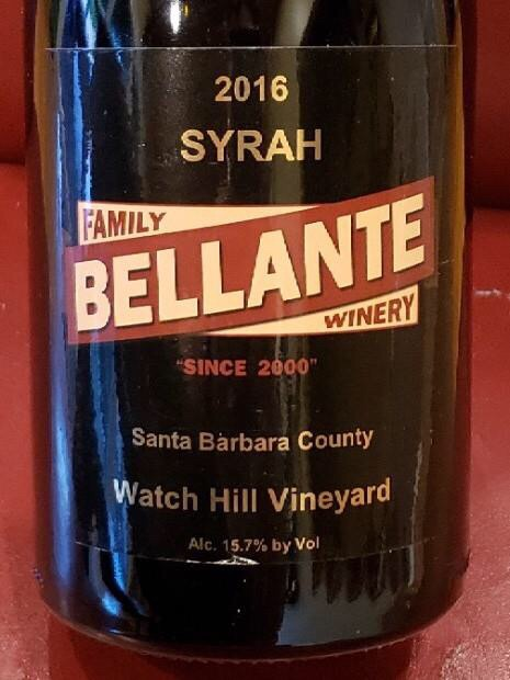 Bellante Family Winery - Watch Hill Vineyard Reserve Syrah - 2016