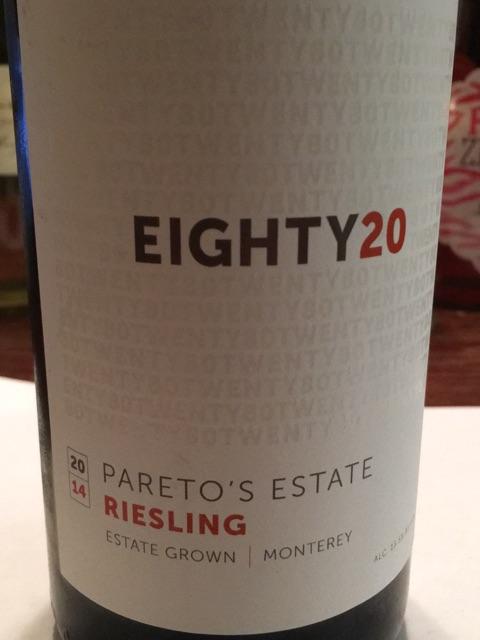 Pareto's Estate - Eighty20 Riesling - 2013