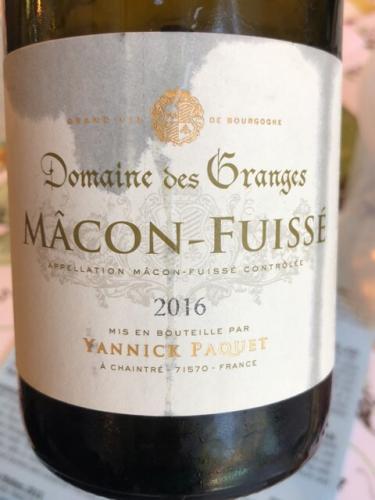 Yannick Paquet - Domaine des Granges Mâcon-Fuissé - 2016