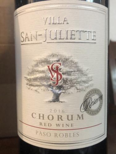 Villa San-Juliette - Chorum Red - 2016