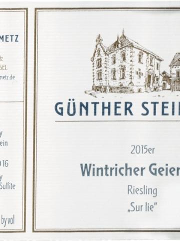 Günther Steinmetz - Wintricher Geierslay Riesling Sur lie - 2015