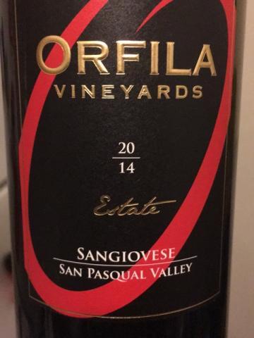 Orfila Vineyards - Estate San Pasqual Valley Sangiovese - 2014