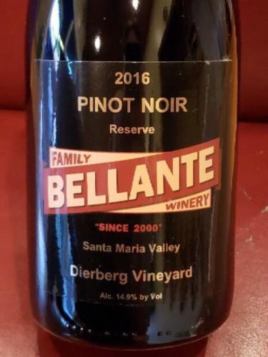 Bellante Family Winery - Pinot Noir Reserve - Dierburg Vineyard - 2016