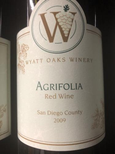 Wyatt Oaks Winery - Agrifolia - 2009