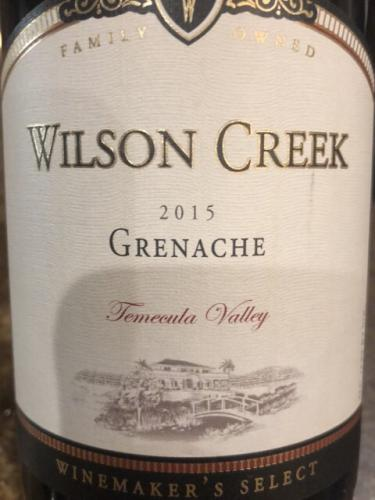 Wilson Creek - Winemaker's Select Grenache - 2015