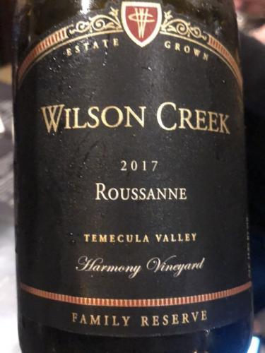 Wilson Creek - Family Reserve Harmony Vineyard Roussanne - 2017