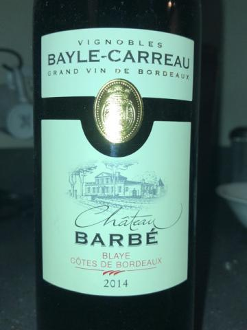 Bayle-Carreau - Chateau Barbé Blaye Côtes de Bordeaux Rouge - 2014