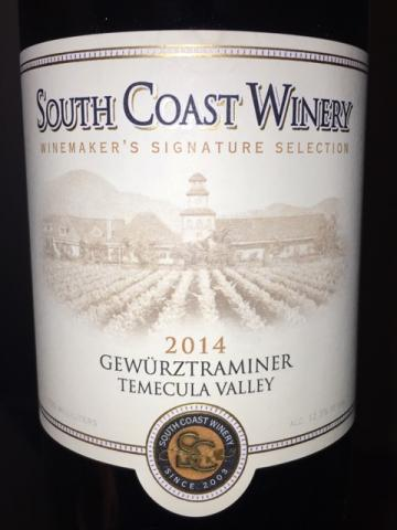 South Coast Winery - Winemaker's Signature Selection Temecula Valley Gewürztraminer - 2014