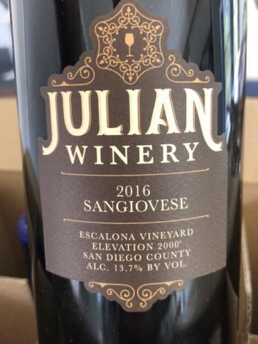 Julian Winery - Escalona Vineyard Sangiovese - 2016