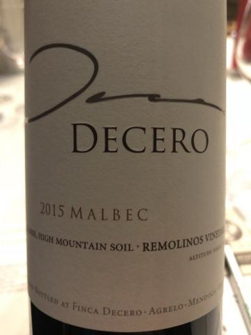 Decero - Remolinos Vineyard Malbec - 2015
