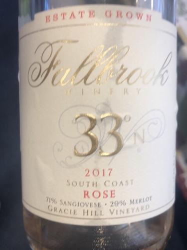 Fallbrook Winery - Gracie Hill Vineyard 33°N Rosé - 2017